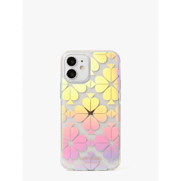 spade flower iridescent iphone 12 mini case, clear, hi-res
