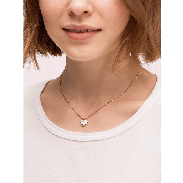 heritage spade enamel heart mini pendant, white, hi-res