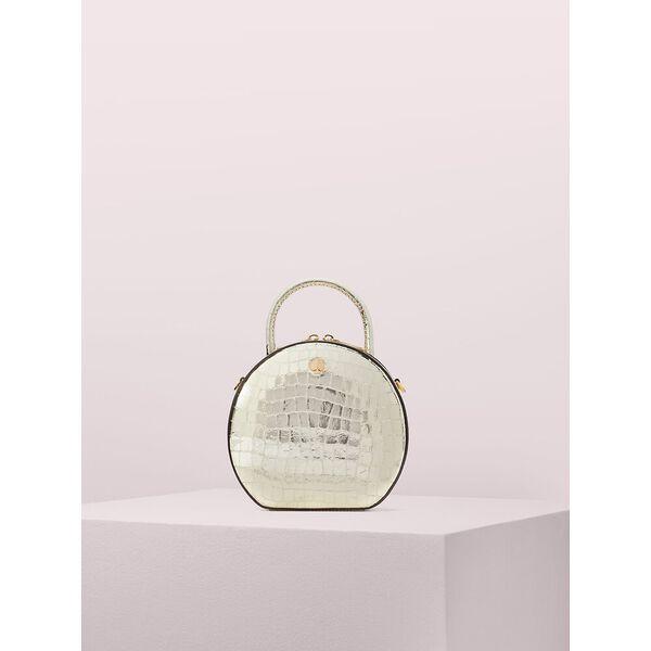 andi metallic croc-embossed canteen bag