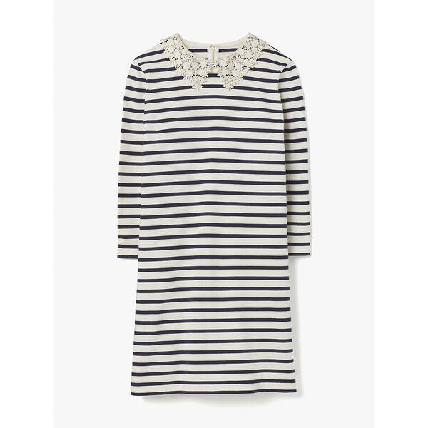 lace collar striped tee dress, cream, hi-res