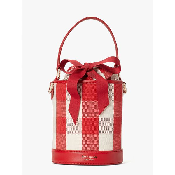 picnic gingham small bucket bag