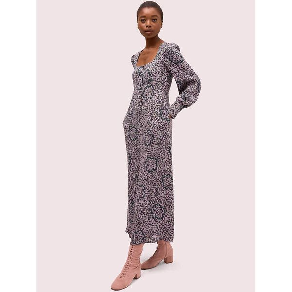 flair flora crepe midi dress, deep spruce, hi-res