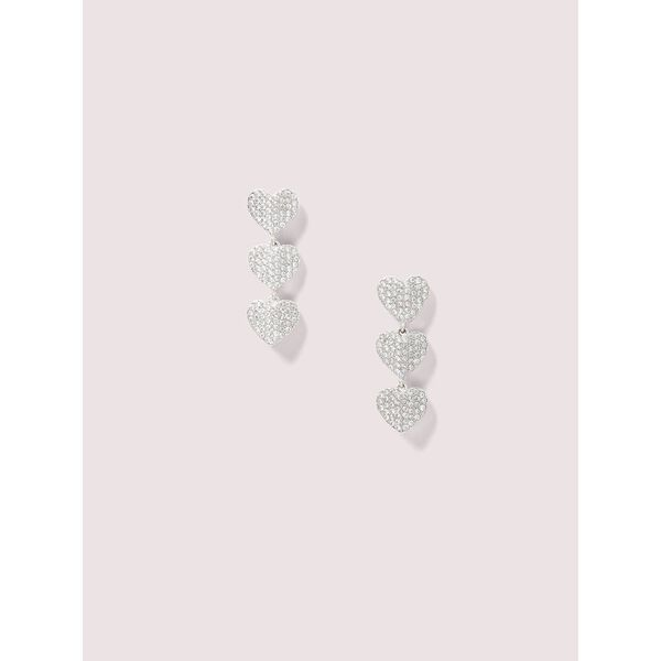 heart to heart pavé triple drop earrings