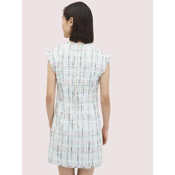 pastel tweed shift dress, FRESH WHITE, hi-res