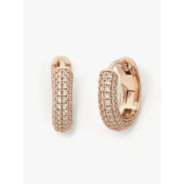 brilliant statements pave mini huggies, clear/rose gold, hi-res