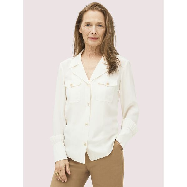 silk pocket shirt, french cream, hi-res