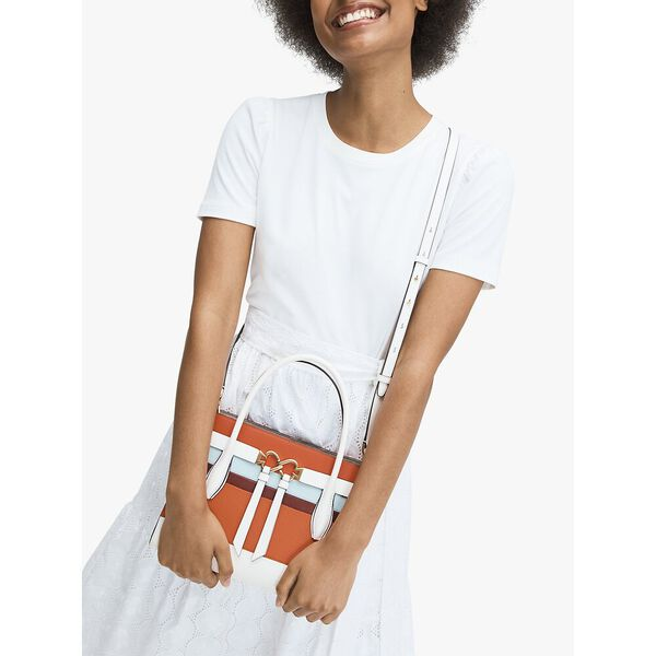 toujours stripe medium satchel, OPTIC WHITE MULTI, hi-res