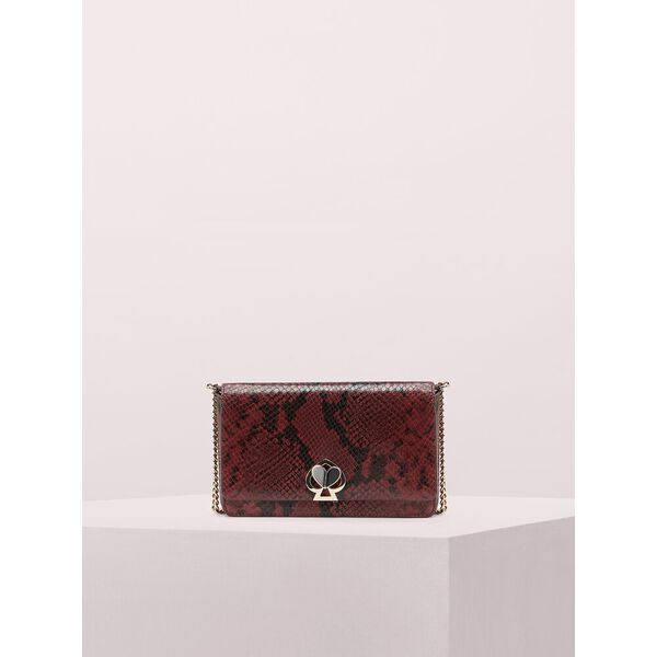 nicola snake embossed twistlock chain wallet