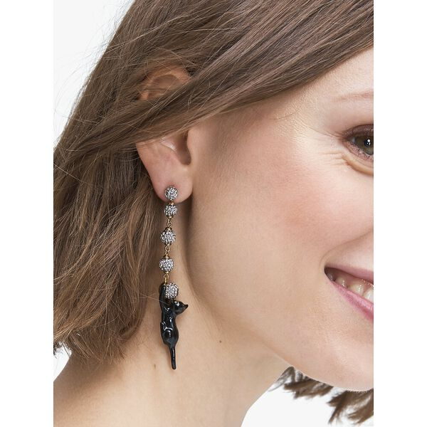 house cat pavé linear earrings, black, hi-res