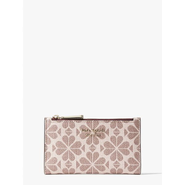 spade flower coated canvas small slim bifold wallet, PINK MULTI, hi-res