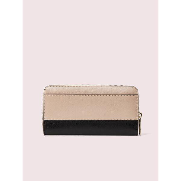 spencer zip-around continental wallet, warm beige/black, hi-res