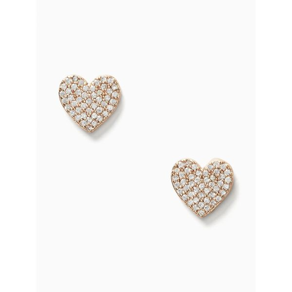 yours truly pave heart studs, clear/rose gold, hi-res