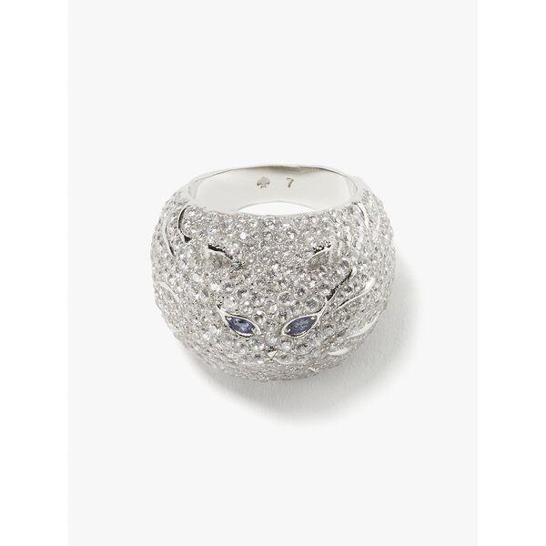 pretty kitty pavé ring, CLEAR/SILVER, hi-res