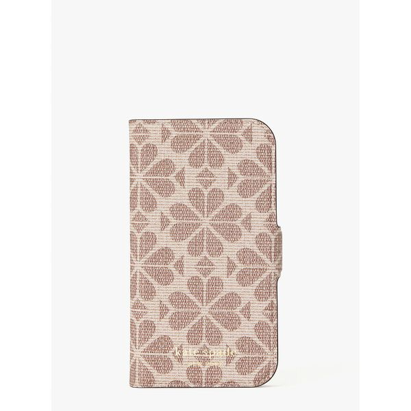 spade flower coated canvas iphone 12 mini magnetic wrap folio case, pink multi, hi-res
