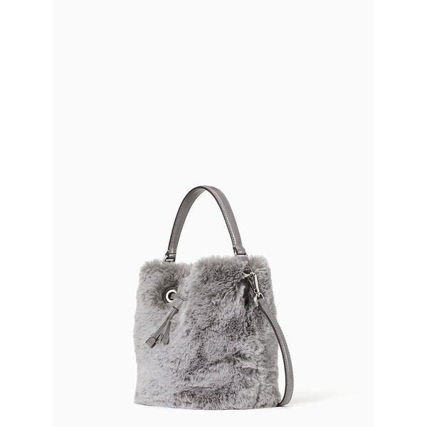 eva faux fur small bucket, grey cat, hi-res