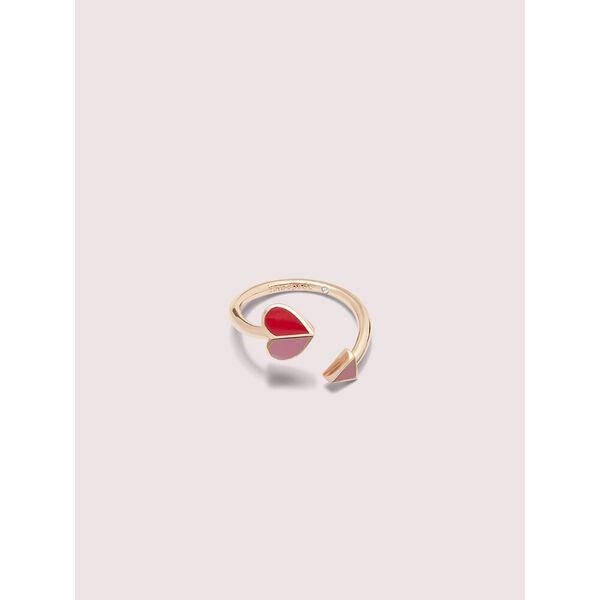heritage spade enamel heart twist ring, pink multi, hi-res