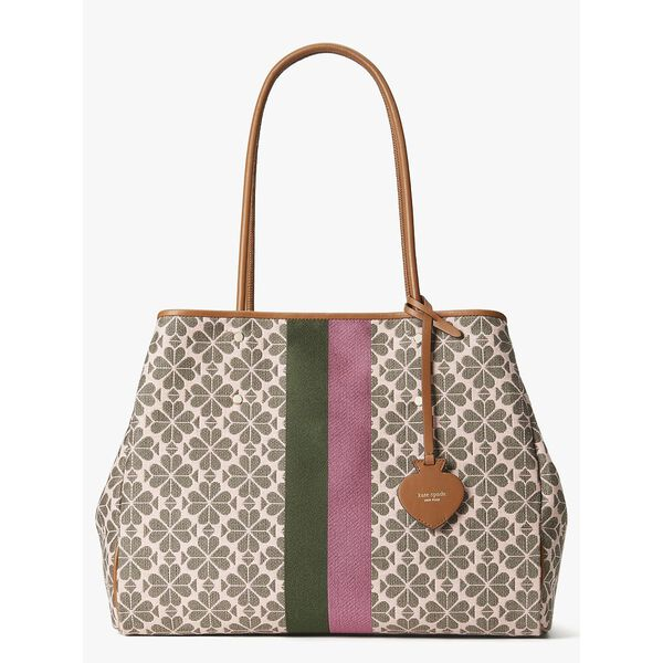everything spade flower jacquard stripe large tote