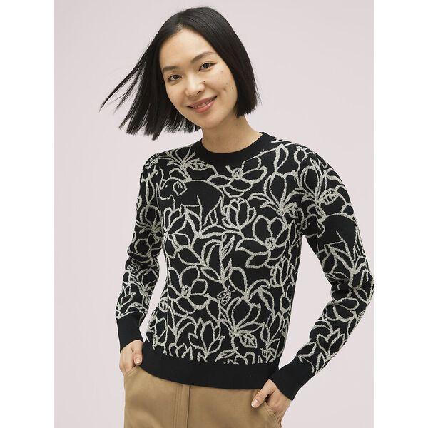 scribble flora sweater, black, hi-res