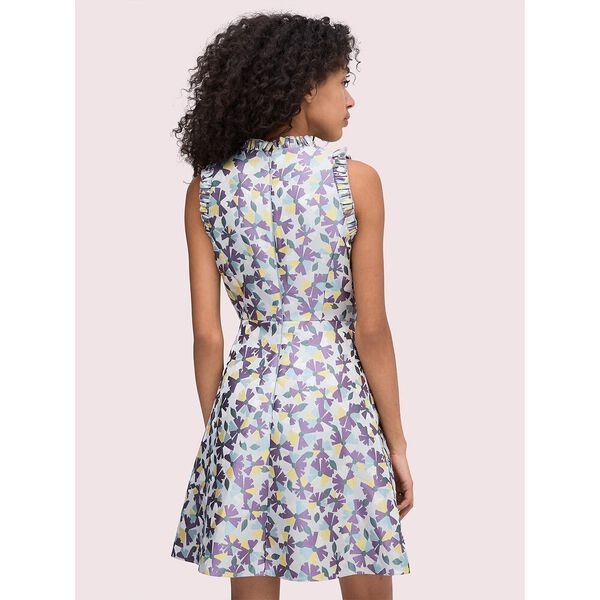 floral jacquard fit-and-flare dress, moonglow, hi-res