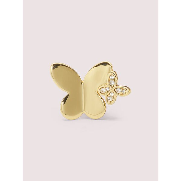 in a flutter studs, clear/gold, hi-res
