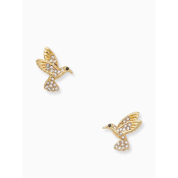 grandmas closet hummingbird studs, clear/gold, hi-res