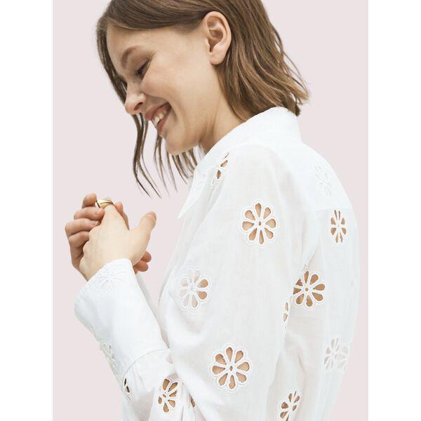 spade clover eyelet blouse, fresh white, hi-res