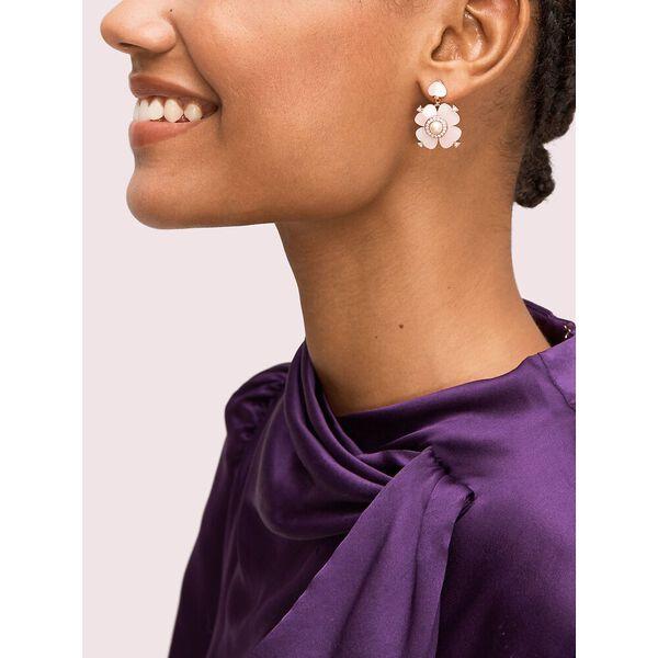 spade flower drop earrings, blush multi, hi-res