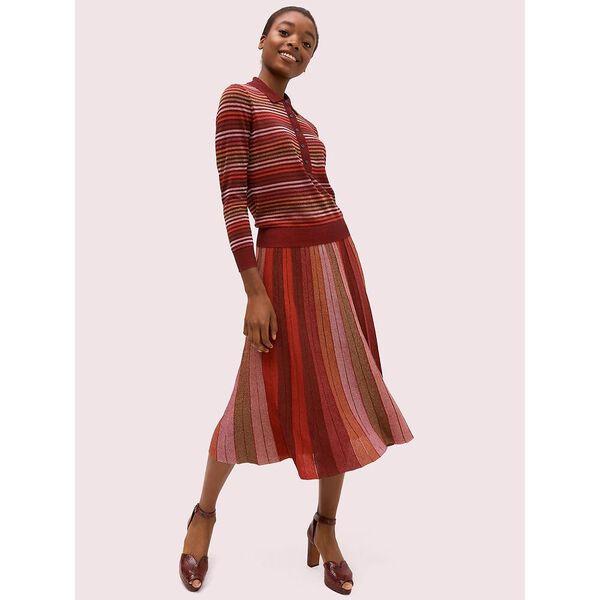 metallic stripe polo sweater, multi, hi-res
