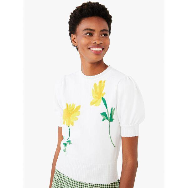 garden daisy sweater, fresh white, hi-res