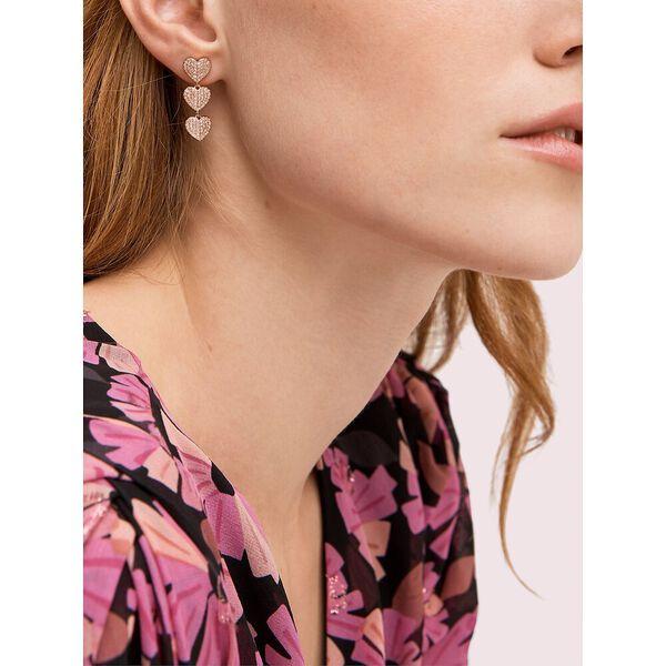 heart to heart pavé triple drop earrings, clear/rose gold, hi-res