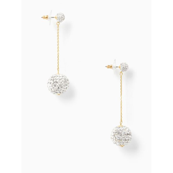 razzle dazzle linear earrings, clear/worn gold, hi-res