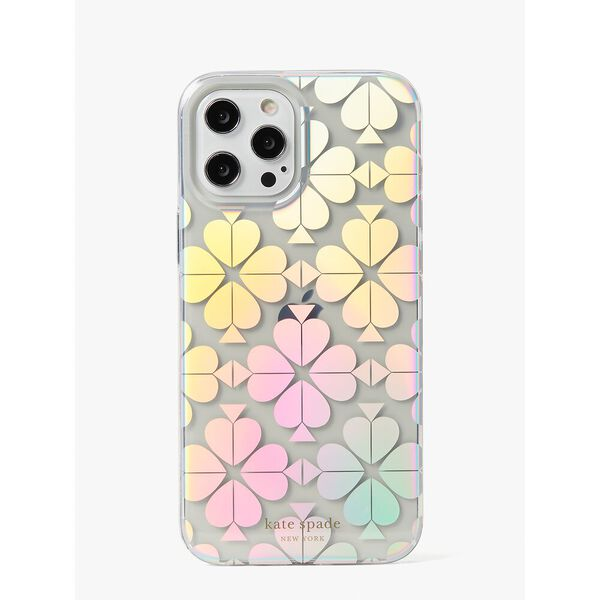 spade flower iridescent iphone 12 pro max case, clear, hi-res