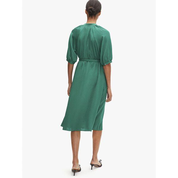 fluid jacquard midi dress, beryl green, hi-res