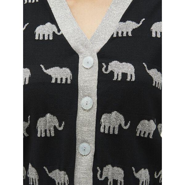 elephant cardigan, black, hi-res