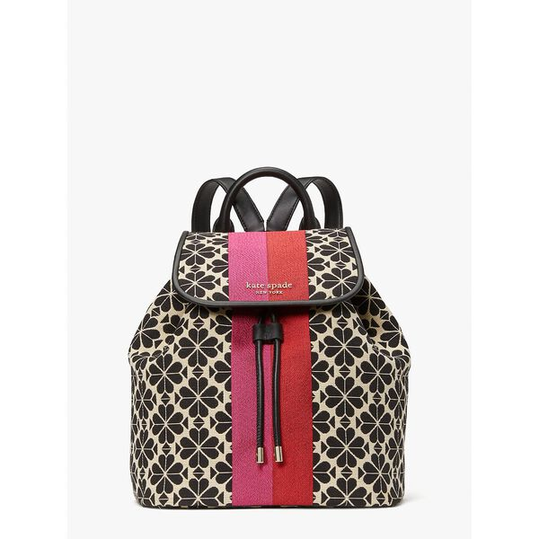 spade flower jacquard stripe sinch medium flap backpack, creammulti, hi-res