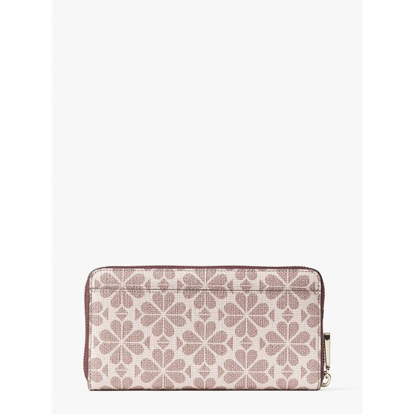 spade flower coated canvas zip-around continental wallet, pink multi, hi-res