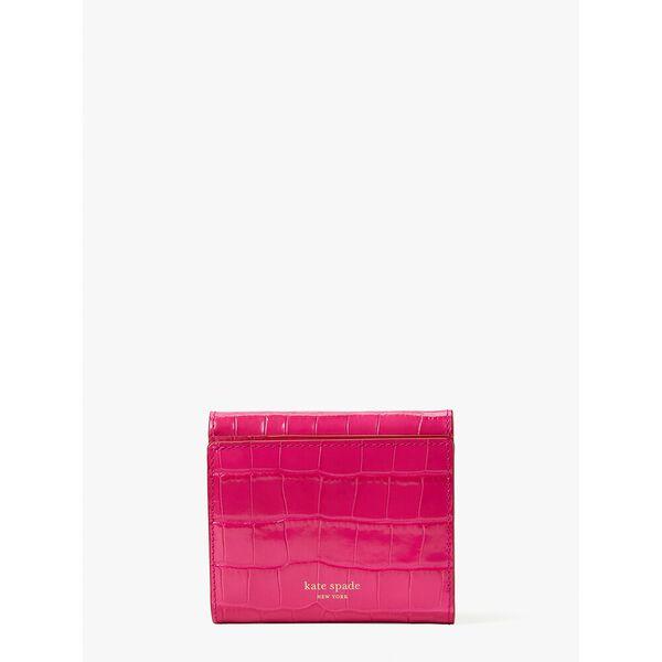 lovitt croc-embossed bifold flap wallet, festive pink, hi-res