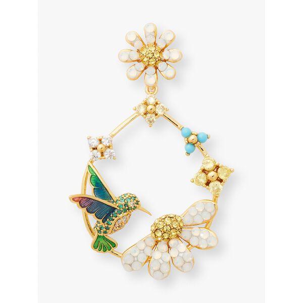 dazzling daisy hummingbird statement hoops, multi, hi-res