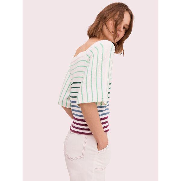 striped square neck sweater, cream, hi-res