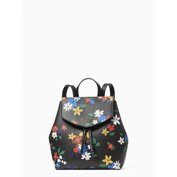 lizzie sailing floral medium flap backpack, blackmulti, hi-res