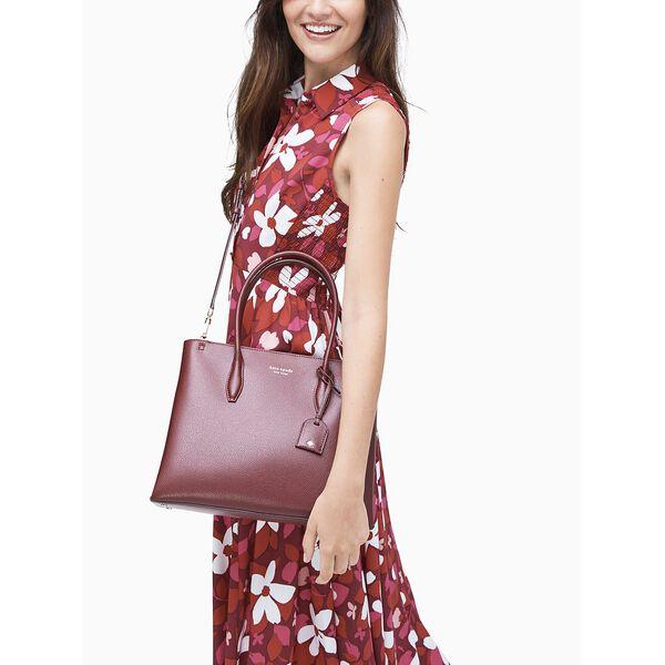 eva medium top zip satchel, cherry wood, hi-res