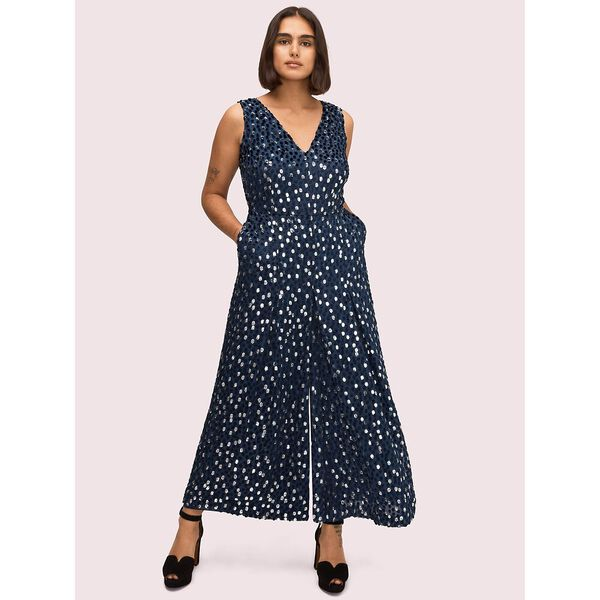 scatter dot velvet jumpsuit