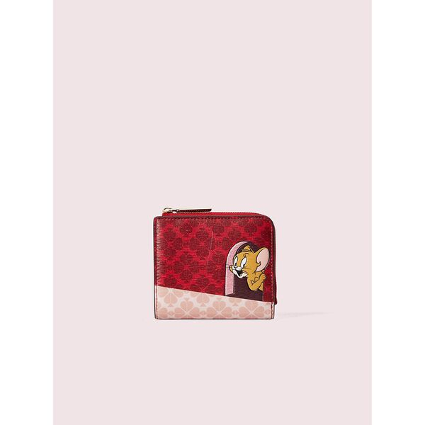 kate spade new york x tom & jerry small bifold wallet, multi, hi-res