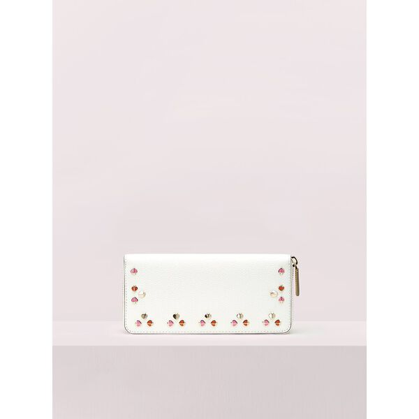 margaux floral slim continental wallet, optic white, hi-res