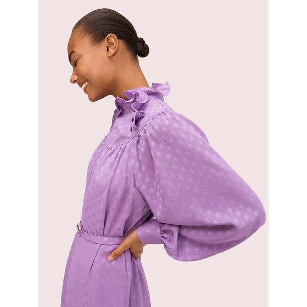 dotty ruffle dress, candied lilac, hi-res