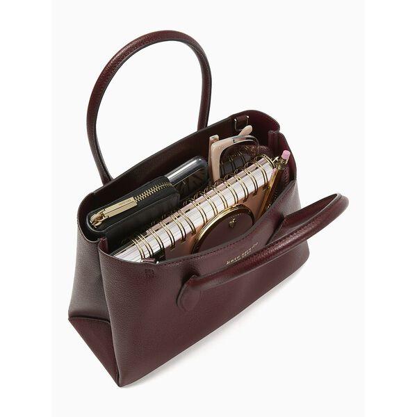 eva small top zip satchel, cherry wood, hi-res