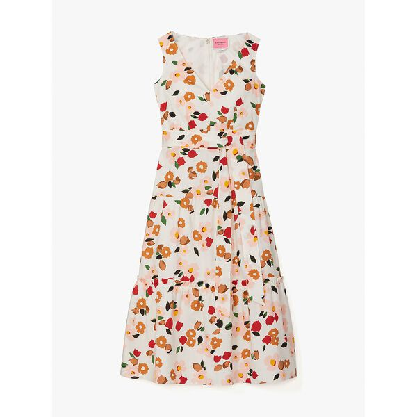 botanical garden tiered dress, cream, hi-res