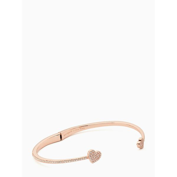 yours truly pave open hinge cuff, clear/rose gold, hi-res