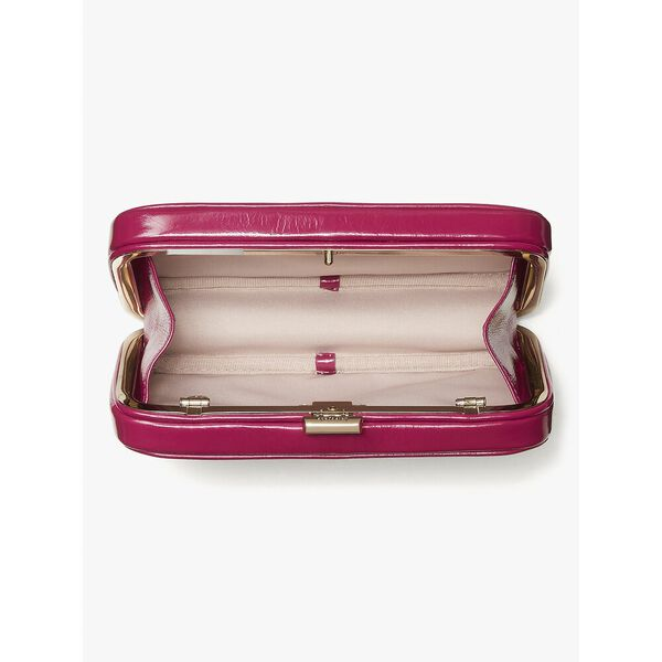 tonight crinkle patent clutch, DEEP RASPBERRY, hi-res