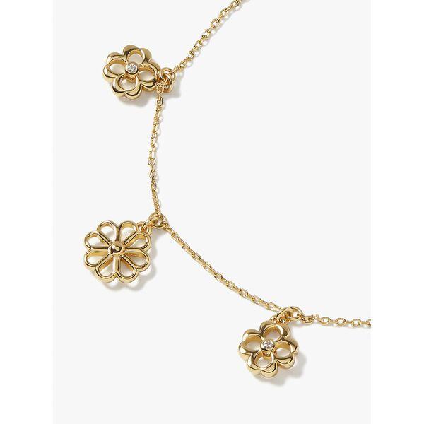 spade floral charm bracelet, clear/gold, hi-res